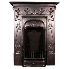 Antique Edwardian Cast Iron Bedroom Fireplace in the Art Nouveau Manner