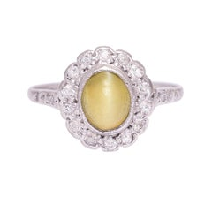 Antique Edwardian Cat's Eye Flower Cluster Ring