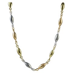 Antique Edwardian Chain Platinum 18 Carat Gold Link Necklace, circa 1910