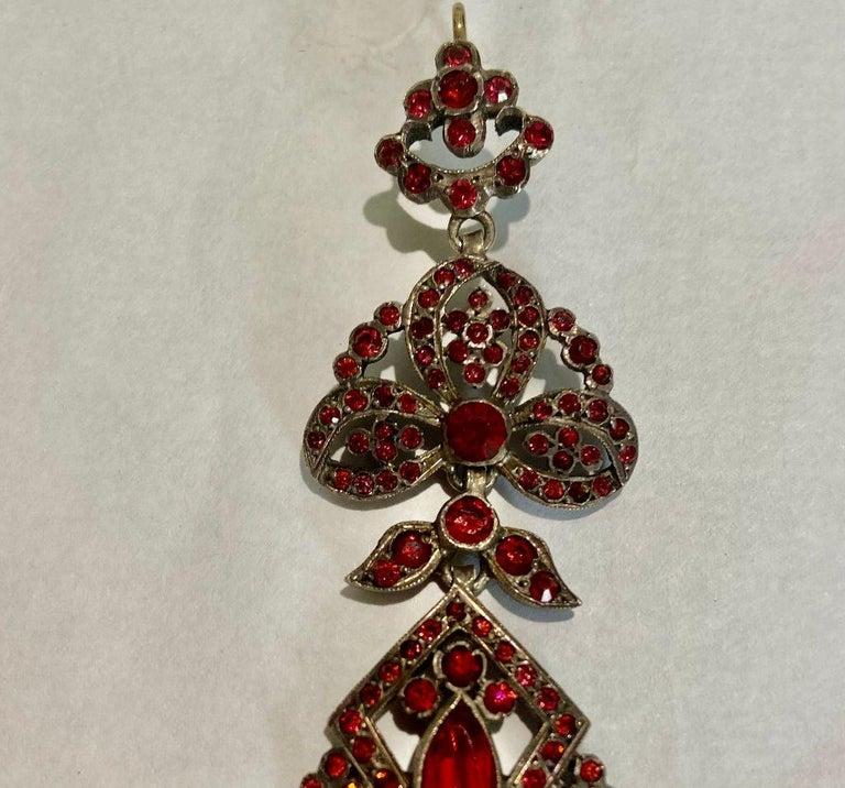 Women's Antique Edwardian Chandelier Earrings of Pink For Sale