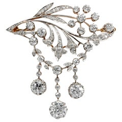 Antique Edwardian circa 1900 Certified 5.93 Carat Diamond Garland Style Brooch