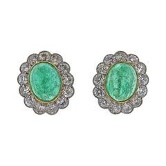 Antique Edwardian Circa 1910 12 Carat Emerald Cabochon Diamond Gold Earrings