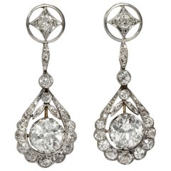 Antique Edwardian circa 1910, 5.41 Carat Diamond Gold Platinum Pendant Earrings