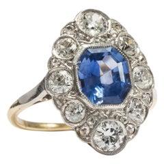 Antique Edwardian circa 1910, Certified 2.05 Carat No Heat Sapphire Diamond Ring