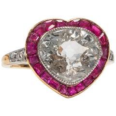 Antique Edwardian circa 1910 Certified 3.00 Carat Heart Cut Diamond Ring