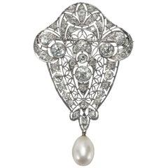 Antique Edwardian circa 1910 Certified 3.55 Carat Diamond Natural Pearl Brooch