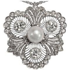 Antique Edwardian circa 1910, Certified 3.60 Carat Diamond Natural Pearl Pendant