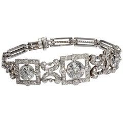 Antique Edwardian circa 1910 Certified 6.21 Carat Diamond Gold Platinum Bracelet