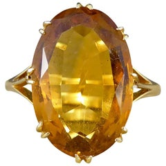 Antique Edwardian Citrene Ring in 18 Carat Yellow Gold