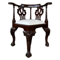 Antique Edwardian Corner Chair Seat Mahogany