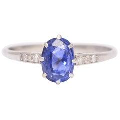 Antique Edwardian Cornflower Sapphire Diamond Solitaire Ring