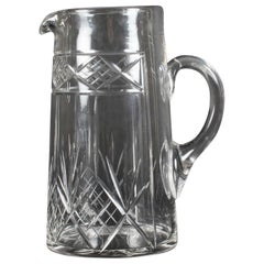 Antique Edwardian Cut Crystal Cocktail Jug Pitcher, Early 20th Century