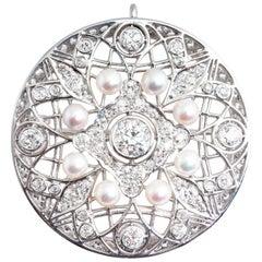 Antique Edwardian Diamond and Pearl Circle Platinum Brooch/Pendant