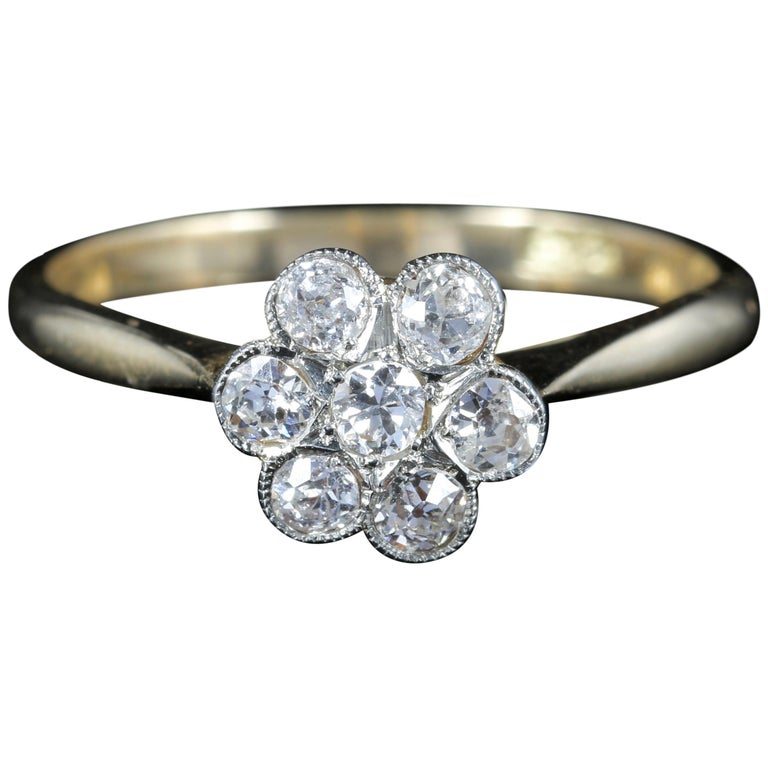 Edwardian Engagement Rings For Sale: Antique Edwardian Diamond Cluster Ring Engagement, Circa