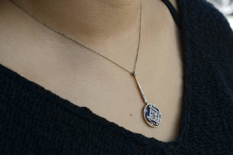 Rose Cut Antique Edwardian Diamond Drop Necklace Blue Enamel Lavalier Openwork Vintage For Sale