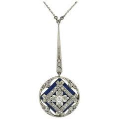 Antique Edwardian Diamond Drop Necklace Blue Enamel Lavalier Openwork Vintage
