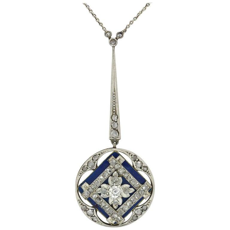Antique Edwardian Diamond Drop Necklace Blue Enamel Lavalier Openwork Vintage For Sale