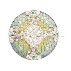 Antique Edwardian Diamond Emerald Plique-à-Jour Disc Brooch