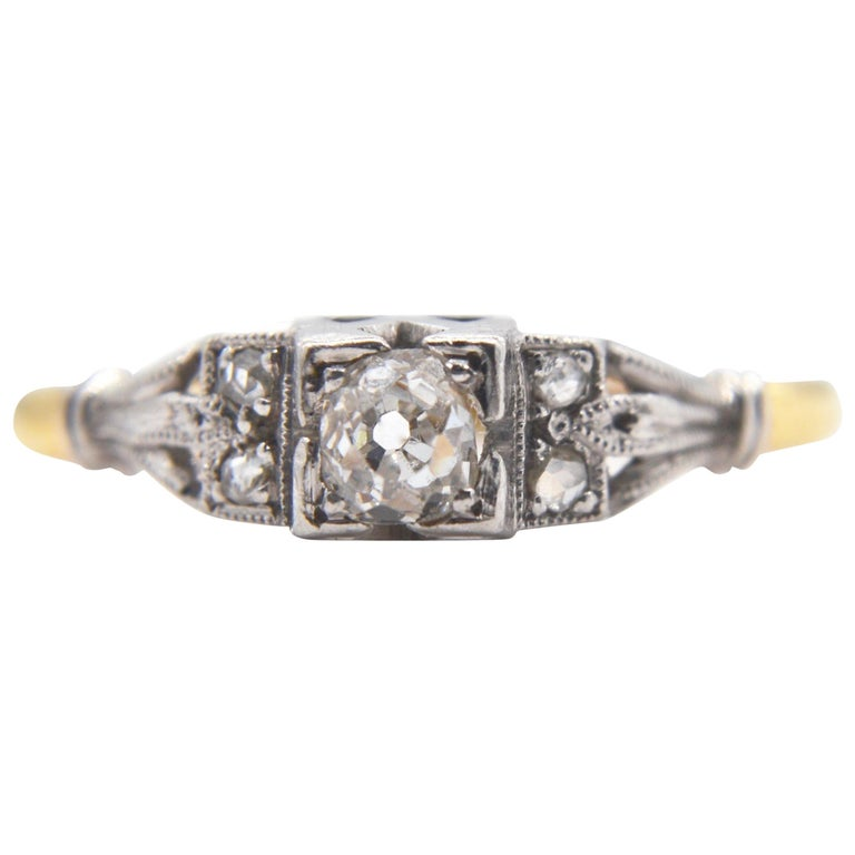 Antique Engagement Rings For Sale: Antique Edwardian Diamond Engagement .25 Carat 18 Karat