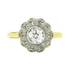 Antique Edwardian Diamond Engagement Ring 1 Carat Floral Halo Cluster 11 Stone