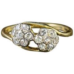 Antique Edwardian Diamond Flower Cluster Ring 18 Carat Gold, circa 1910