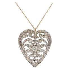 Antique Edwardian Diamond Gold Heart Pendant on Tiffany & Co Chain Necklace