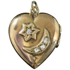 Antique Edwardian Diamond Heart Locket Crescent Star 18 Carat Gold Dated 1909