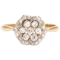 Antique Edwardian Diamond Hexagon Cluster Ring