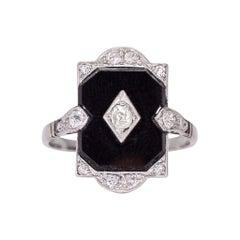 Antique Edwardian Diamond Onyx Panel Ring