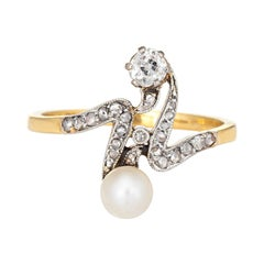 Antique Edwardian Diamond Pearl Ring Moi et Toi 18k Gold Silver Topped Jewelry 9