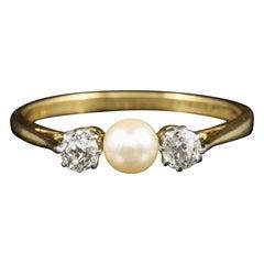 Antique Edwardian Diamond Pearl Trilogy Ring, circa 1915 18 Carat Gold Plated