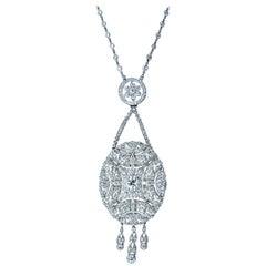 Dreicer & Co. Antique Edwardian Diamond Pendant Necklace circa 1915