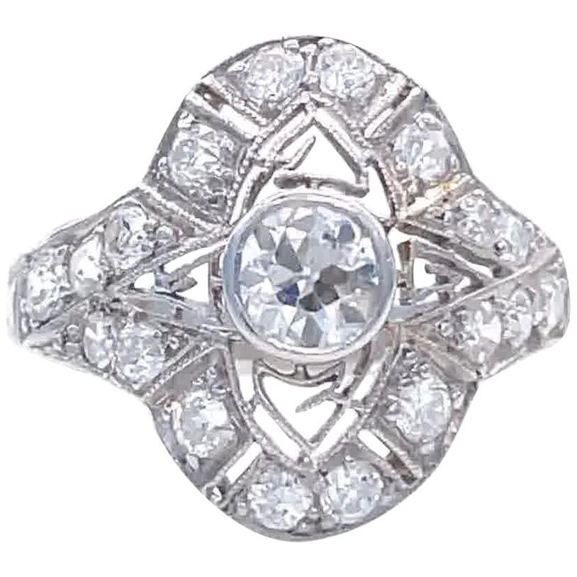 Antique Edwardian Diamond Platinum Filigree Ring