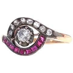 Antique Edwardian Diamond Ruby 14 Karat Gold Bypass Ring