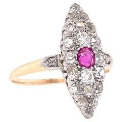 Antique Edwardian Diamond Ruby 14 Karat Gold Navette Ring