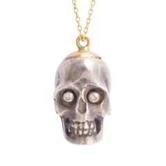 Antique Edwardian Diamond Skull Pendant Necklace
