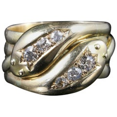 Antique Edwardian Diamond Snake Ring 18 Carat Gold Dated Chester, 1915