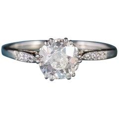 Antique Edwardian Diamond Platinum 18 Carat Gold circa 1910 Solitaire Ring