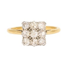 Antique Edwardian Diamond Square Cluster Ring