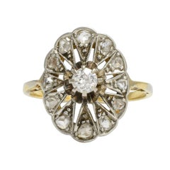 Antique Edwardian Diamond Star Cluster Ring