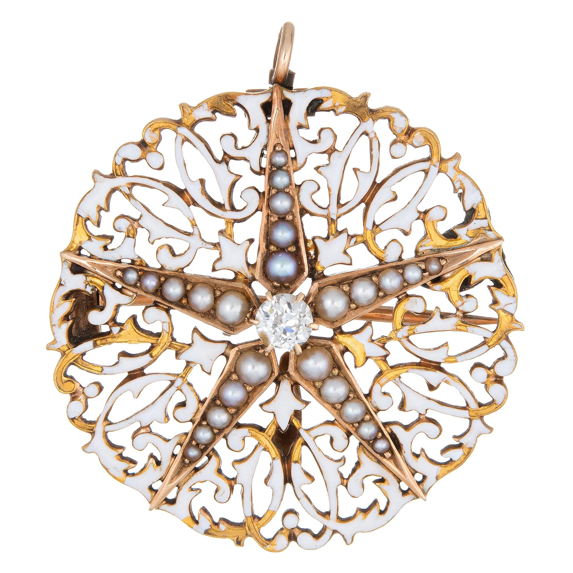 Antique Edwardian Diamond Star Pendant White Enamel Seed Pearls Round Brooch