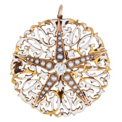 Antique Edwardian Diamond Star Pendant White Enamel Seed Pearls Round Brooch