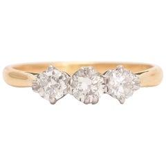 Antique Edwardian Diamond Three-Stone Trilogy Ring