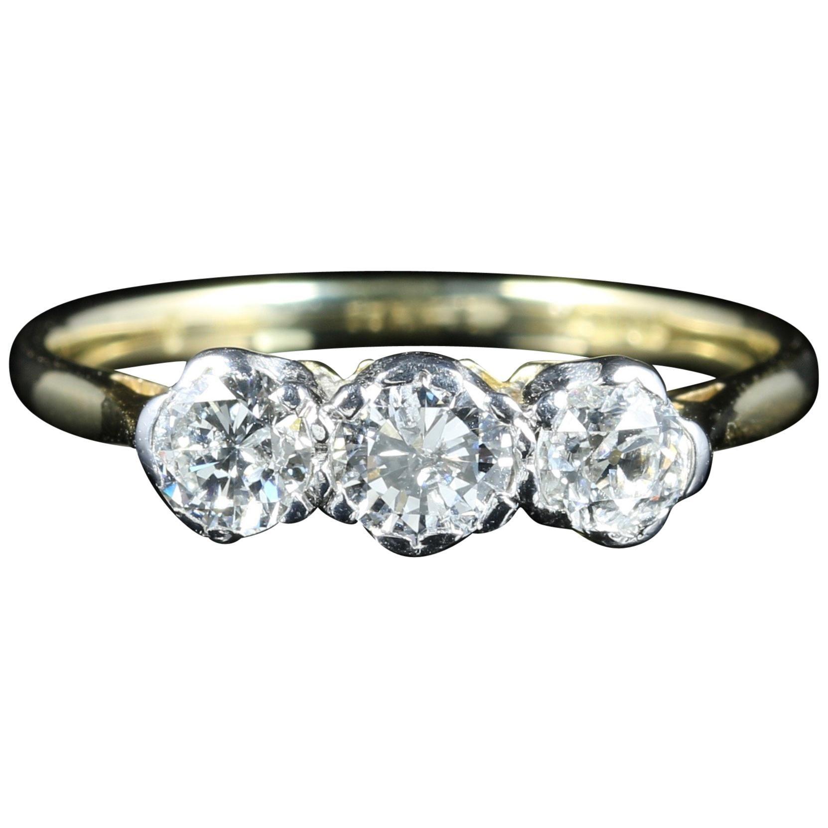 Antique Edwardian Diamond Trilogy Ring Circa 1915 Gold Plat For Sale At 1stdibs: Genuine Edwardian Wedding Rings At Websimilar.org