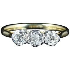 Antiker Edwardianischer Goldring mit drei Diamanten, um 1915