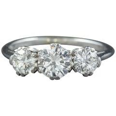 Antique Edwardian Diamond Trilogy Ring Platinum, circa 1910