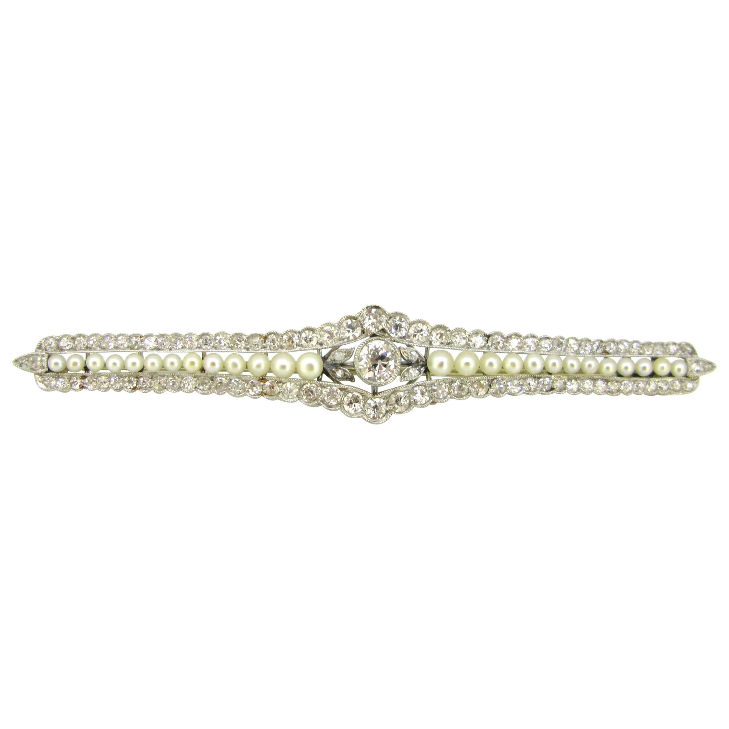 Antique Edwardian Diamonds and Pearls Brooch, 18kt Gold and Platinum, circa 1910