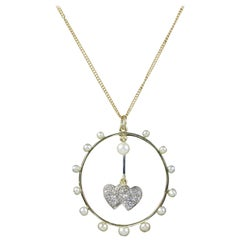 Antique Edwardian Double Heart Diamond Pearl Pendant 18 Carat, circa 1915