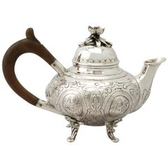 Antique Edwardian Dutch Sterling Silver Bachelor Teapot