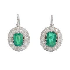 Antique Edwardian Emerald Diamond Cluster Earrings